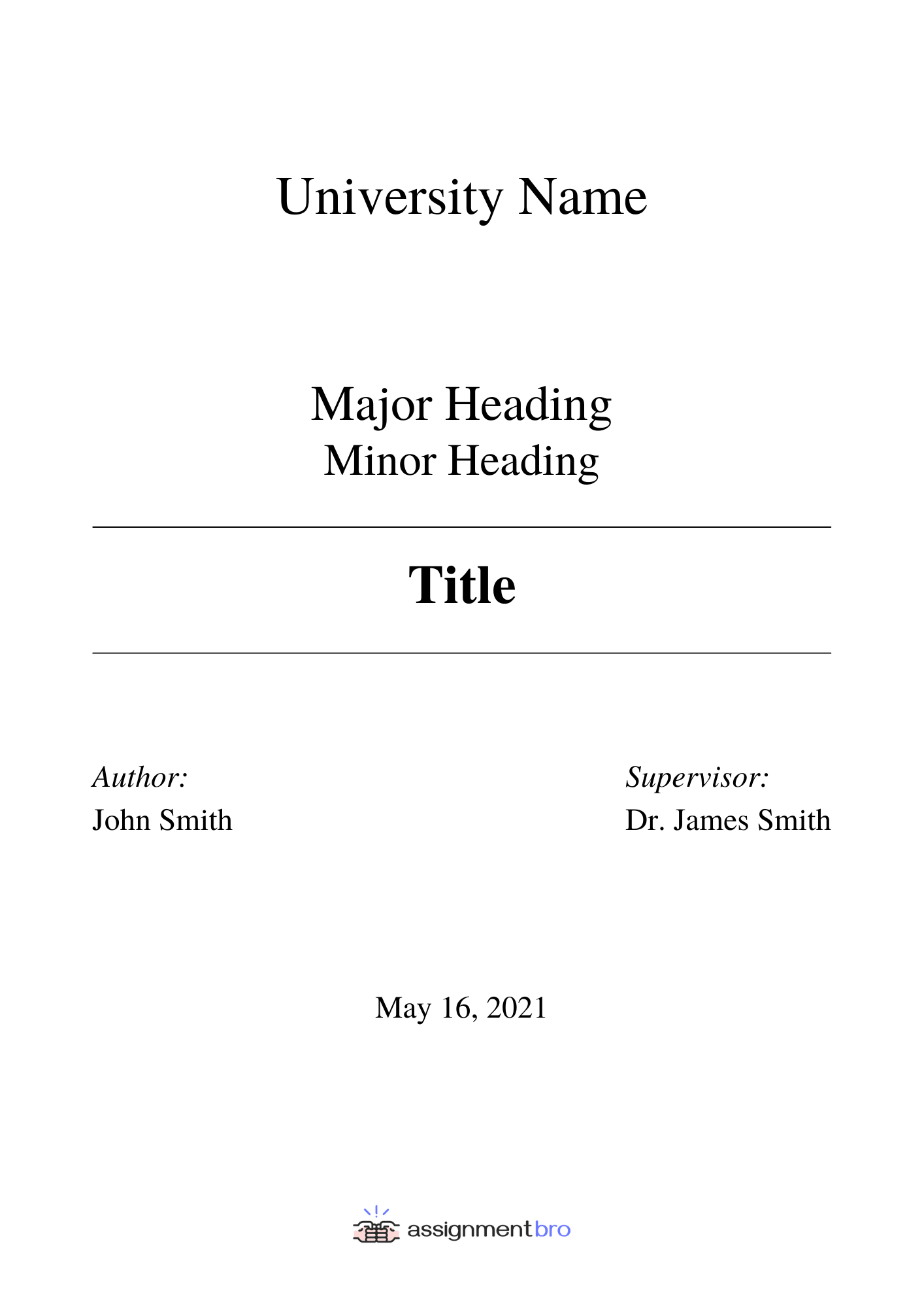 Assignment Cover Page Example