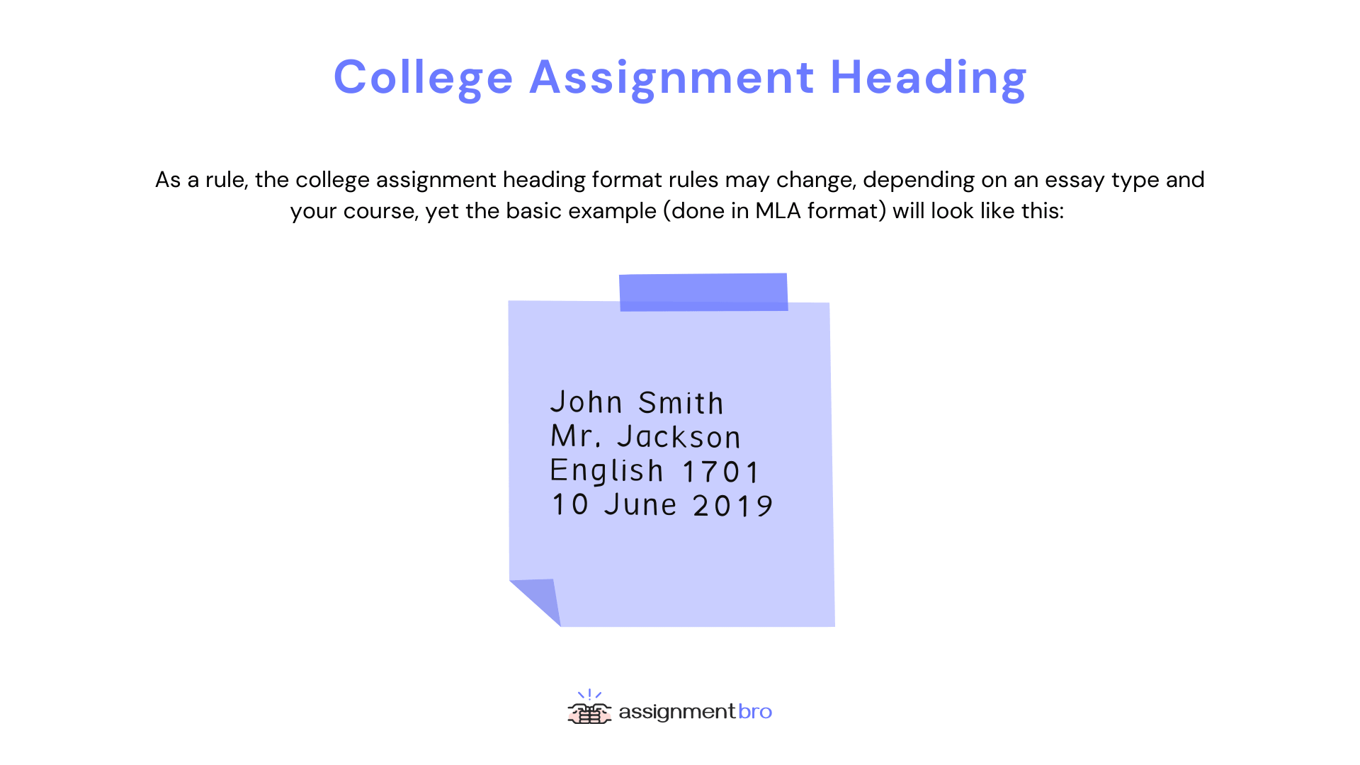 College Assignment Heading Example